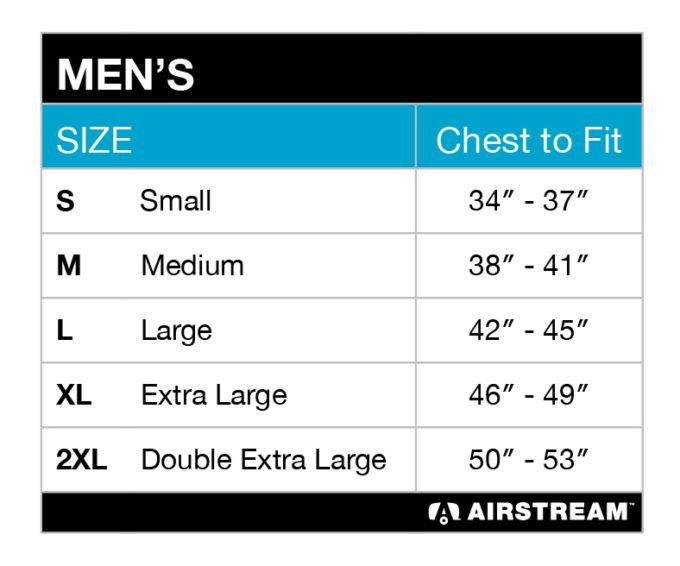mens BC3091 tee size chart