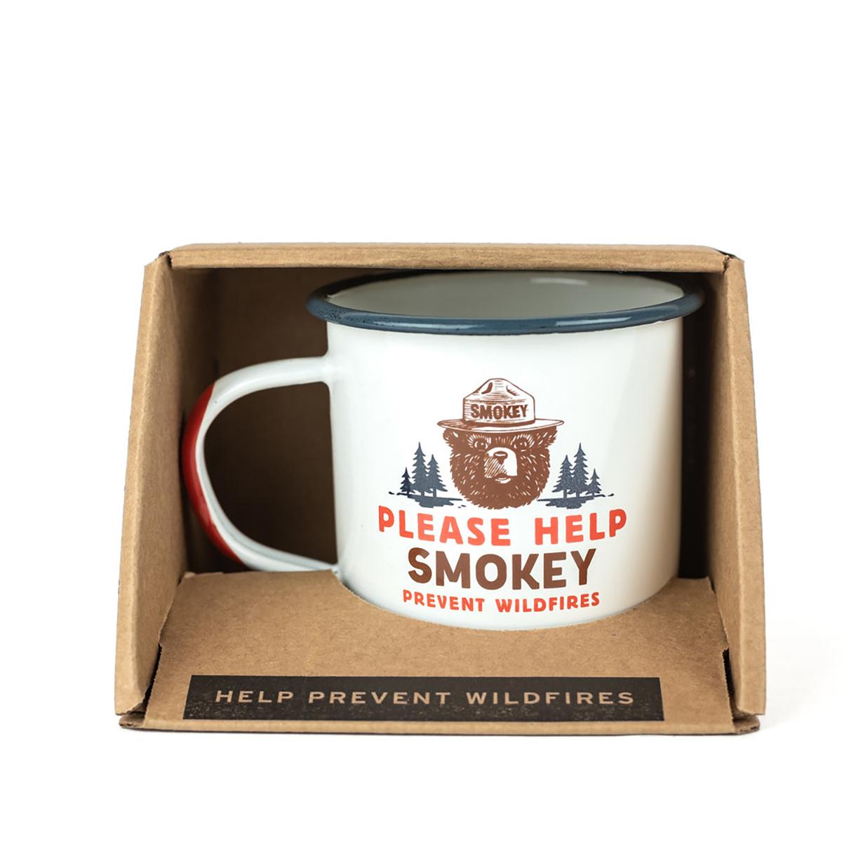 product photo of smokey bear enamel mug designed by the landmark project (www.thelandmarkproject.com)