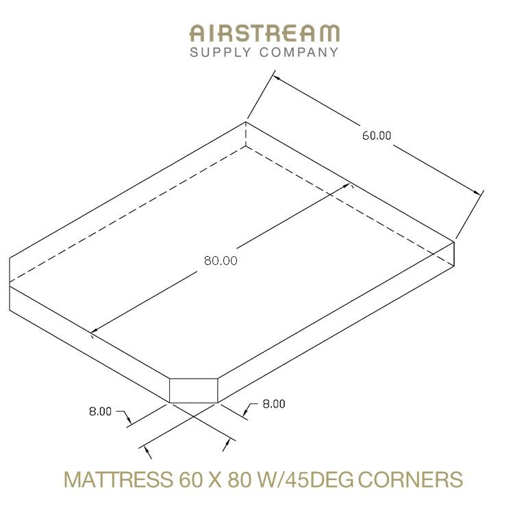 Airstream Custom Replacement Mattress 60 X 80 W45DEG CORNERS