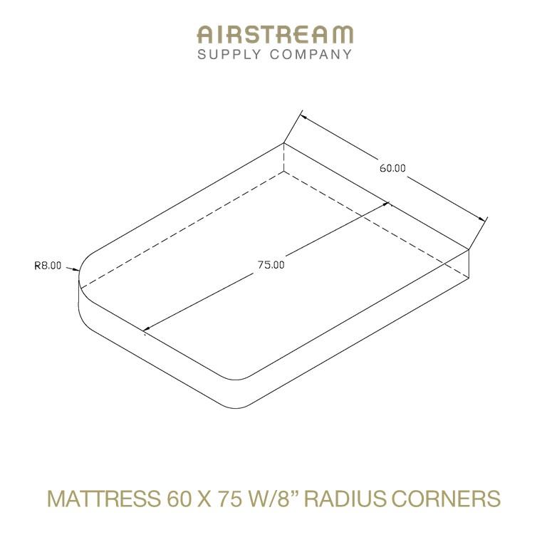 Airstream Custom Replacement Mattress 60 X 75 WITH 8IN RADIUS CORNERS