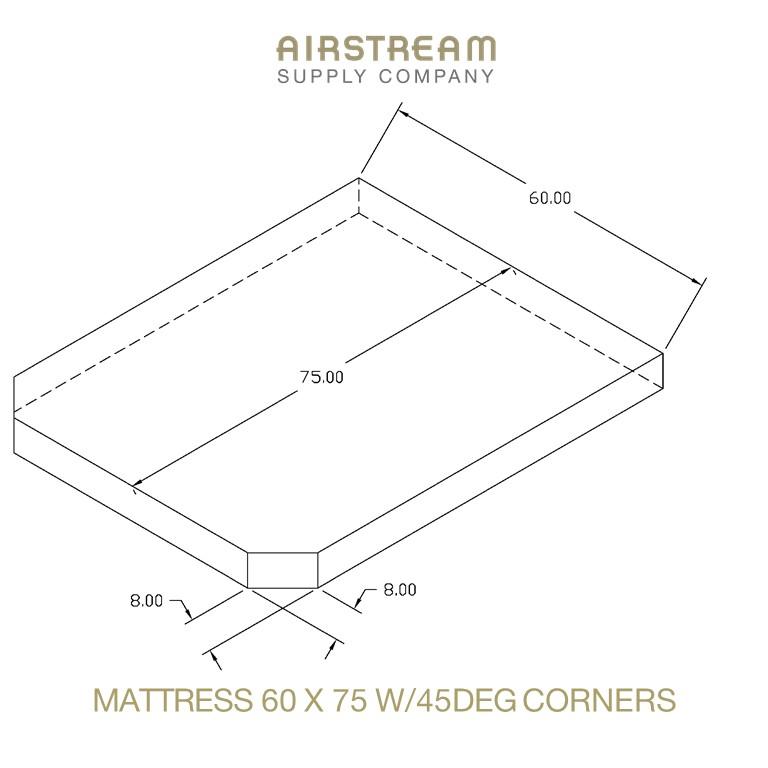 Airstream Custom Replacement Mattress 60 X 75 W45DEG CORNERS