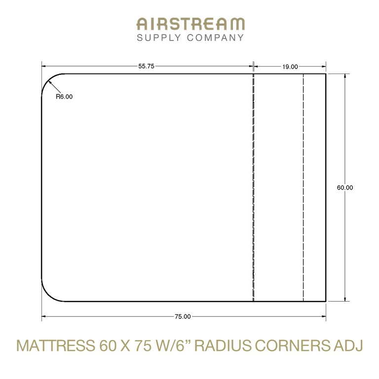 Airstream Custom Replacement Mattress 60 X 75 WITH 6IN RADIUS CORNERS ADJ