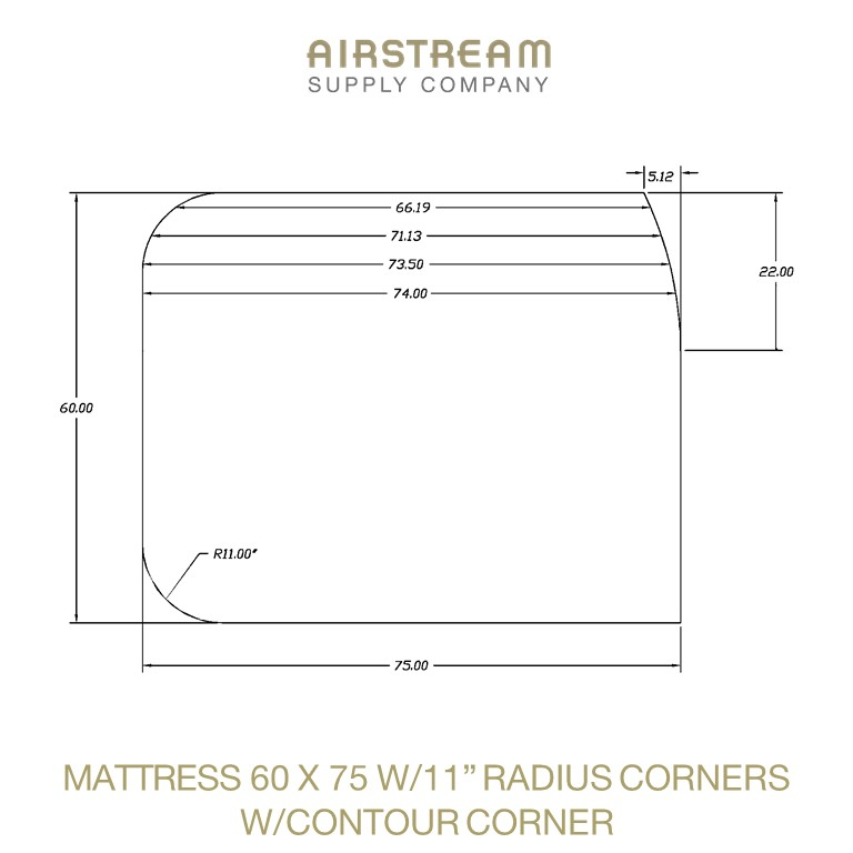 MATTRESS 60 X 75 W11IN RADIUS CORNERS WCOUTOUR CORNER