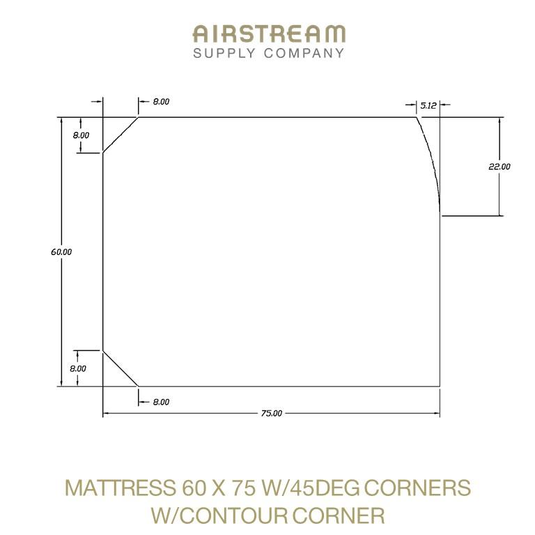 Airstream Custom Replacement Mattress 60 X 75 W45DEG CORNER WCONTOUR CORNER