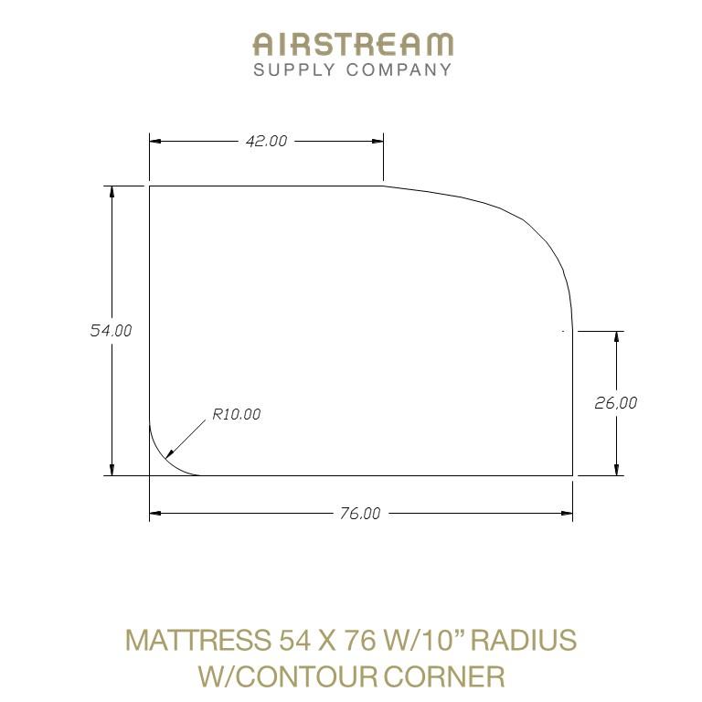 Airstream Custom Replacement Mattress 54 X 76 W10IN RADIUS WCONTOUR CORNER