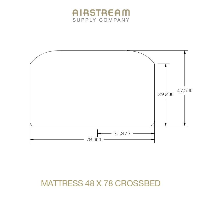 Airstream Custom Replacement Mattress 48 X 78 CROSSBED