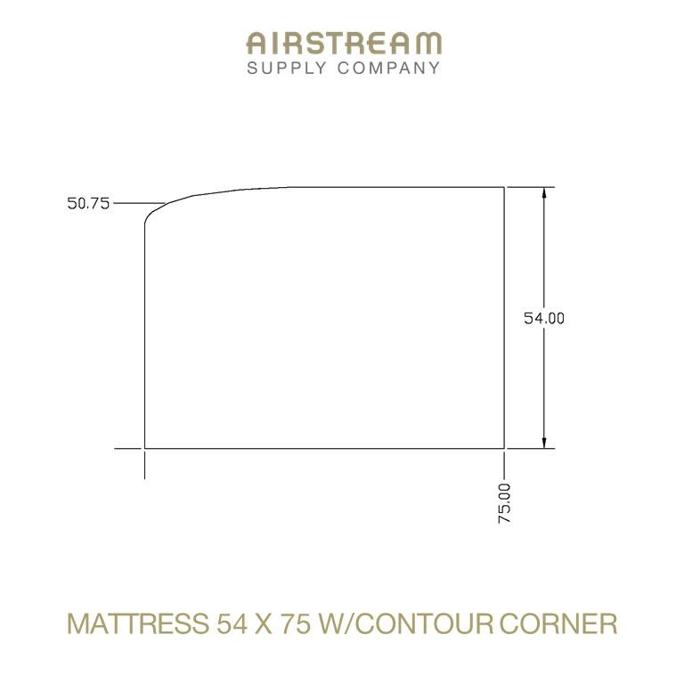 Airstream Custom Replacement Mattress 54 X 75 WCONTOUR CORNER