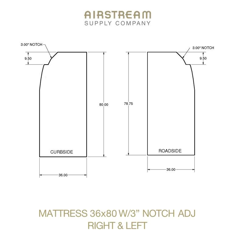 Airstream Custom Replacement Mattress 36 X 80 W3 NOTCH ADJ RIGHT&LEFT