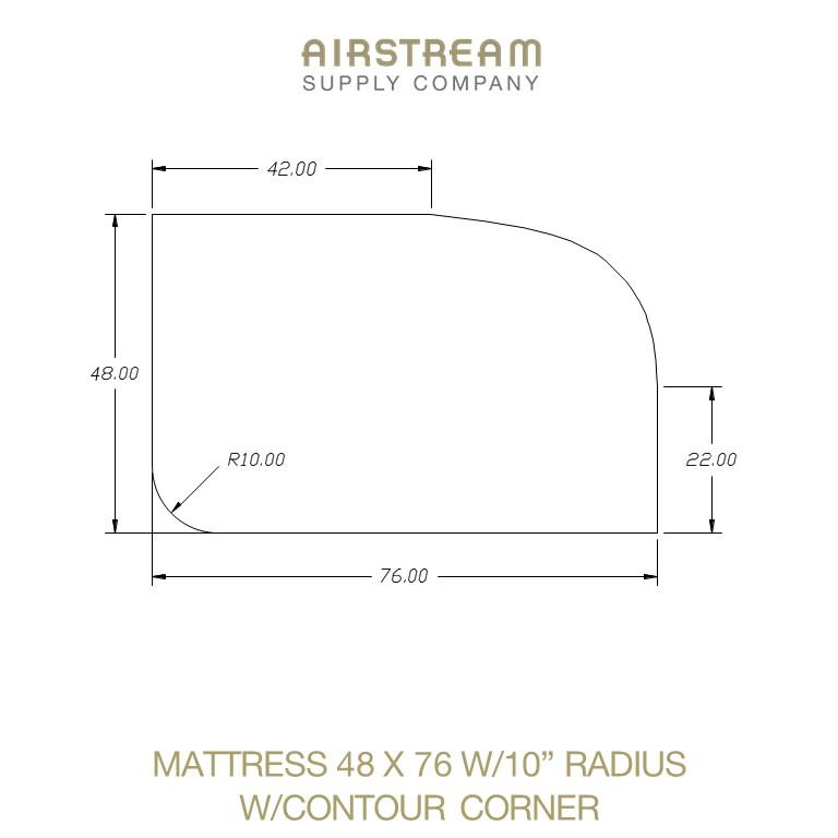 Airstream Custom Replacement Mattress 48 X 76 W10 RADIUS WCONTOUR CORNER