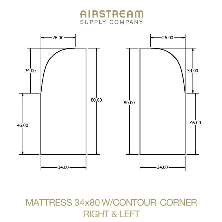 Airstream Custom Replacement Mattress 34 X 80 WCONTOUR CORNER RIGHT&LEFT