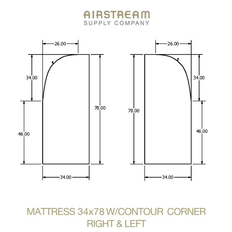 Airstream Custom Replacement Mattress 34 X 78 WCONTOUR CORNER RIGHT&LEFT