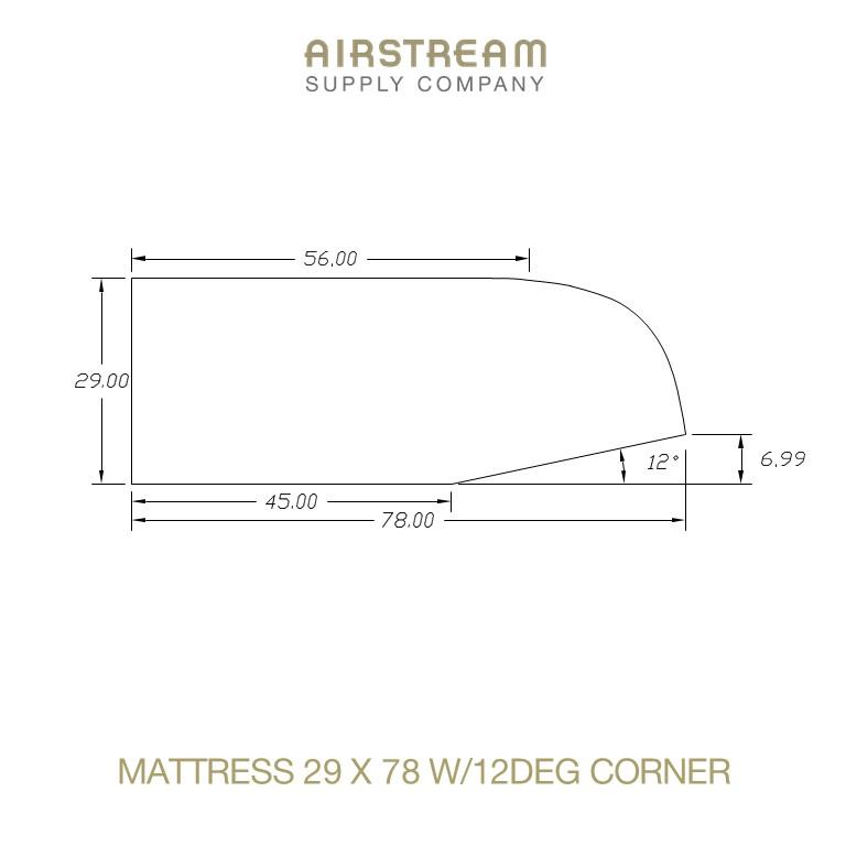 Airstream Custom Replacement Mattress 29 X 78 W12DEG CORNER