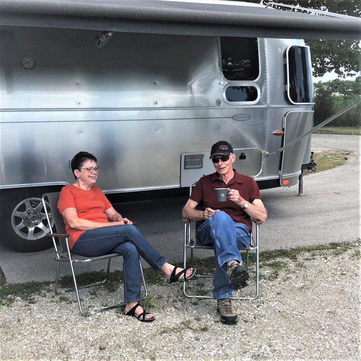Airstream Custom Zip Dee Chairs Sitting Outside Airstream
