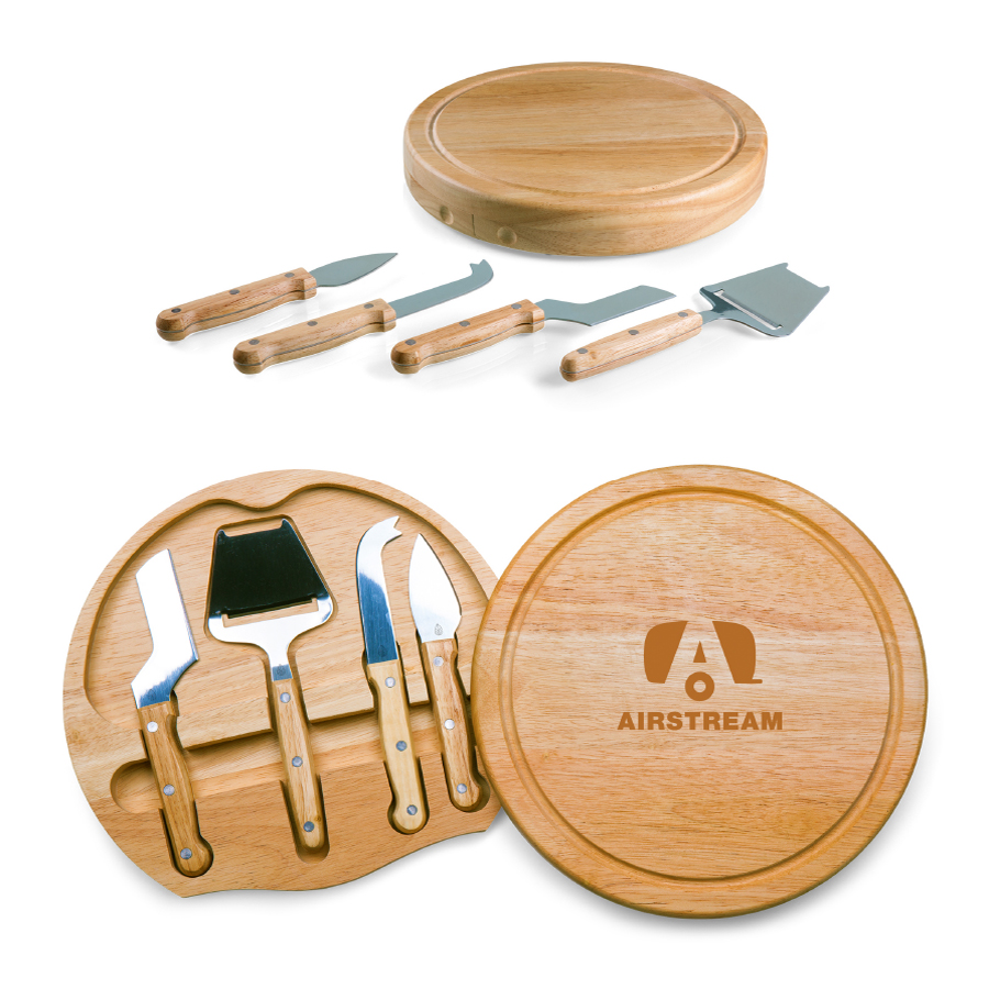 01 airstream logo round cutting board