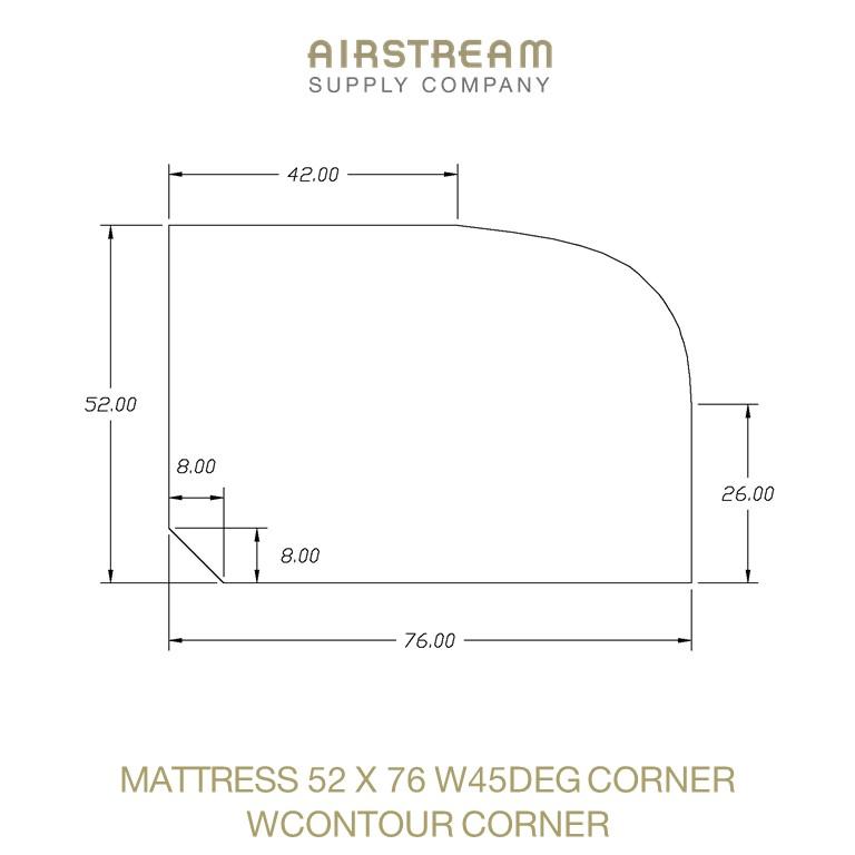 MATTRESS 52 X 76 W45DEG CORNER WCONTOUR CORNER