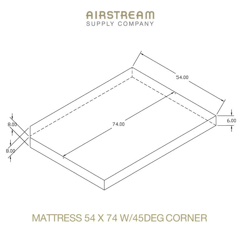 Airstream Custom Replacement Mattress 54 X 74 W45DEG CORNER