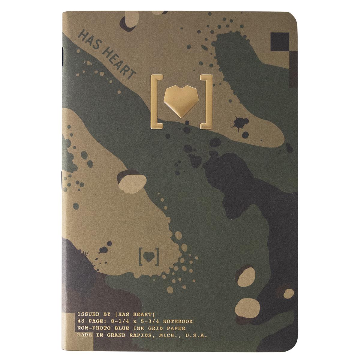 has heart camo notebook cover