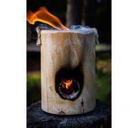ONE LOG FIRE BURNING FLAME