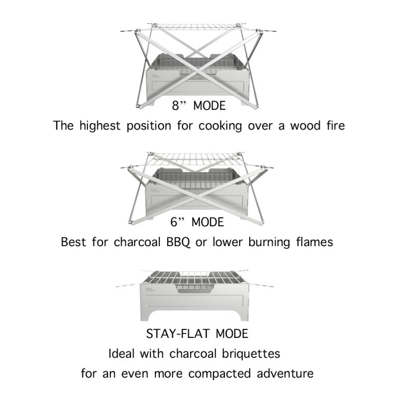 wolf grizzle stay safe portable fire pit 3 ways
