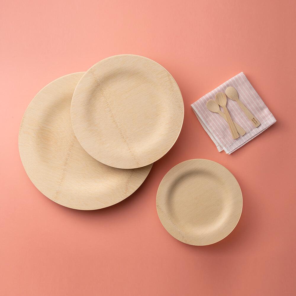 Veneerware Round Plates Stacked - bambu