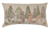 Pillow with animals hiking through a woods