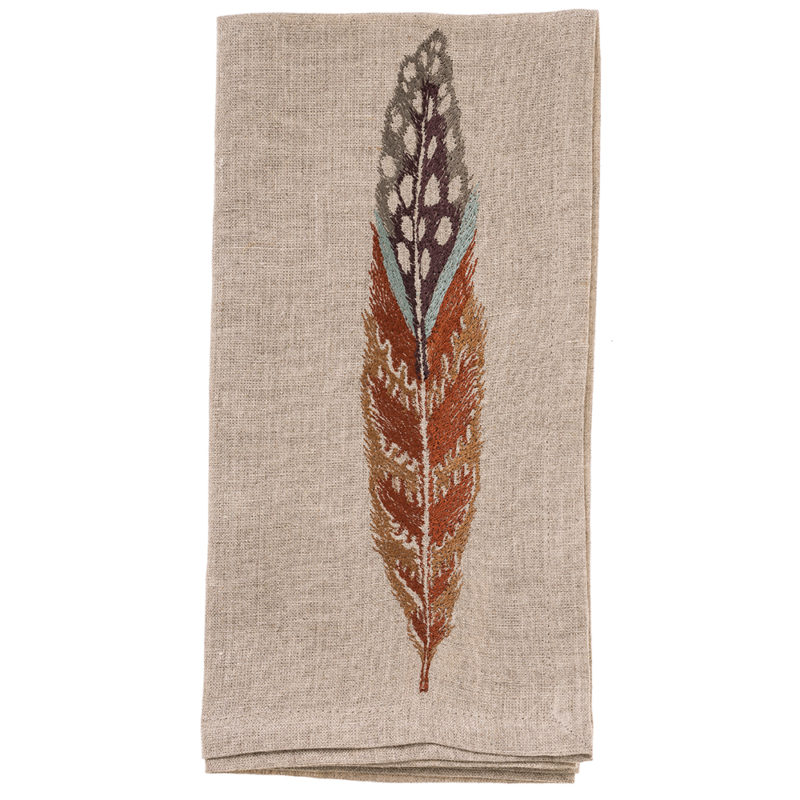 Fowl-Feather-Napkin-Coral-and-Tusk-Folded