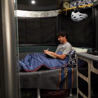 Airstream-Basecamp-20-Sleeping-Space-in-Front-Dinette-Conversion-Table