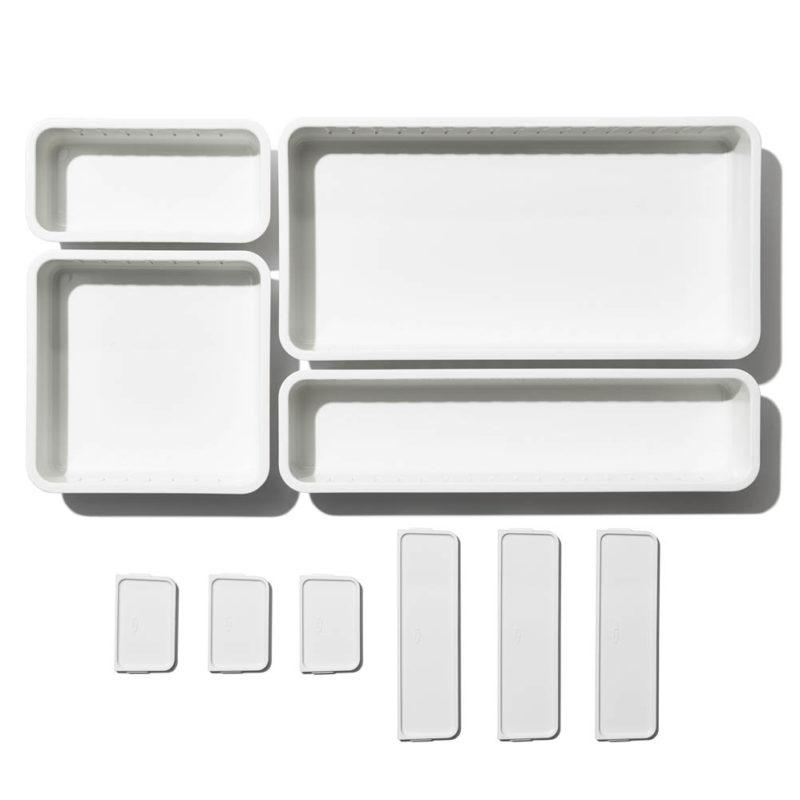 oxo airstream 4 piece adjustable drawer bin set 9